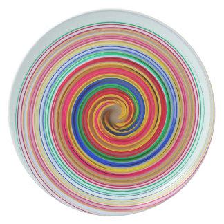 Remolinos del color primario platos para fiestas