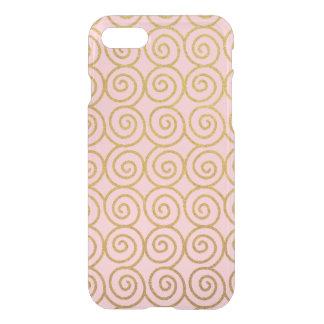 Remolinos del oro y caja rosada del teléfono del funda para iPhone 7