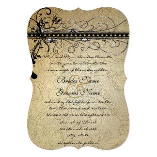 Remolinos elegantes enrrollados negros que casan invitación 12,7 x 17,8 cm