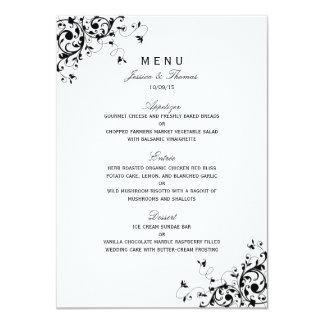 Remolinos elegantes negros y menú blanco del boda invitación 11,4 x 15,8 cm