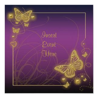 Remolinos púrpuras del negro de la mariposa del invitación 13,3 cm x 13,3cm