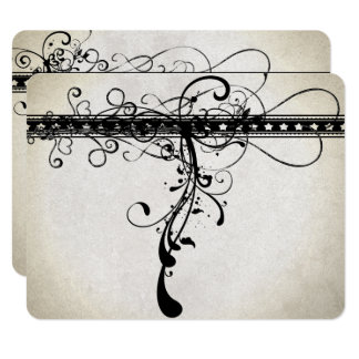 Remolinos texturizados enrrollados negros que invitación 10,8 x 13,9 cm