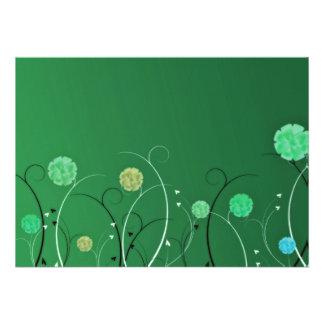 Remolinos verdosos del flor y del negro comunicado personalizado