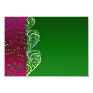Remolinos verdosos expresivos y hojas invitación 12,7 x 17,8 cm