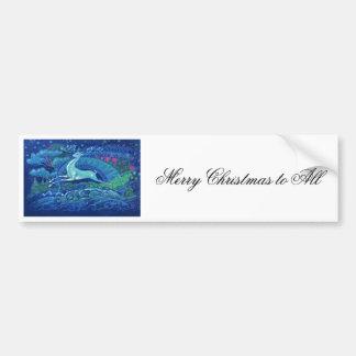Reno azul ruso del navidad del vintage imponente pegatina para coche