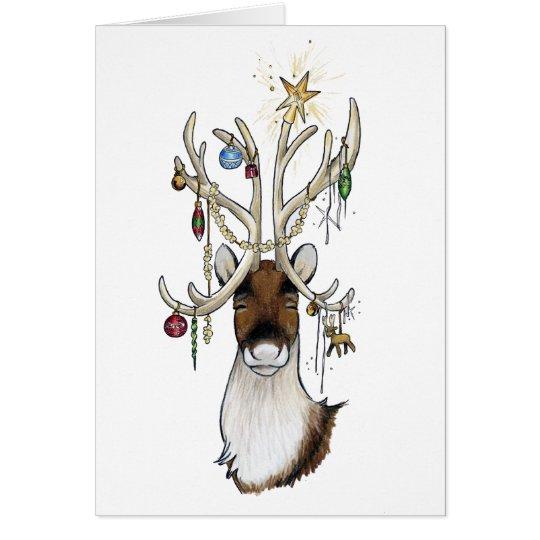 Reno con la tarjeta de los ornamentos