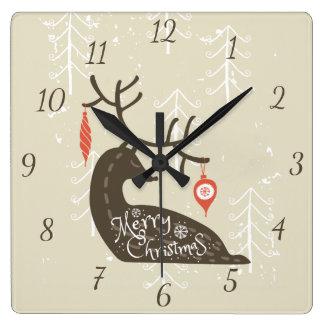 Reno de las Felices Navidad acogedor Reloj Cuadrado