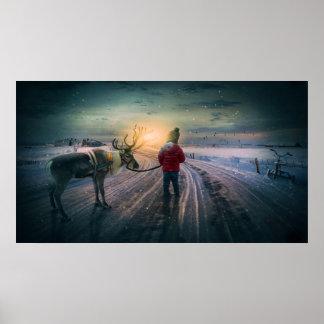 reno del invierno e impresión surrealista del
