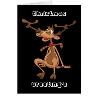 Reno divertido de Navidad del navidad del dibujo a Tarjeta De Felicitación