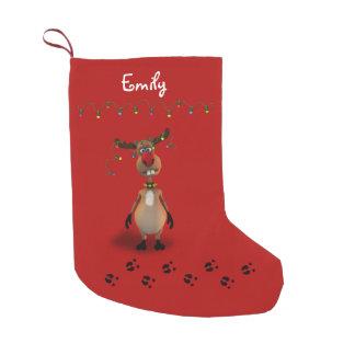 Reno divertido del navidad - almacenamiento del calcetín de navidad pequeño