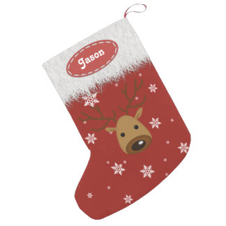 Reno y copos de nieve - medias del navidad calcetín de navidad pequeño