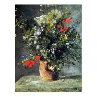 Renoir, flores en una postal del florero