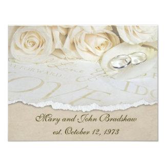 Renovación del voto de boda de los rosas blancos invitación 10,8 x 13,9 cm