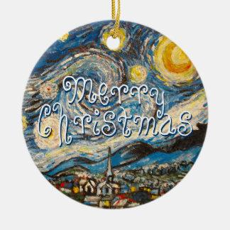 Rep. de la noche estrellada de recuerdos 2014 de adorno navideño redondo de cerámica