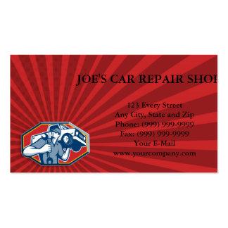 Reparación automotriz del coche del mecánico retra plantilla de tarjeta de visita