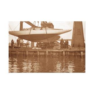 Reparación del velero circa el canotaje 1910 del lienzo