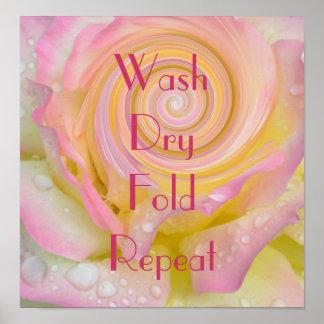 Repetición seca del doblez del lavado posters
