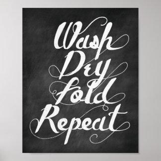 Repetición seca del doblez del lavado póster