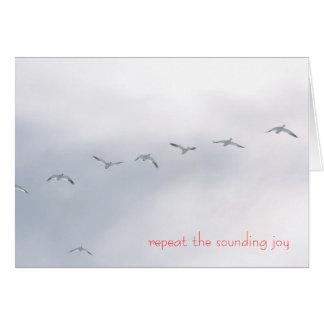 Repita la alegría que suena - gansos de nieve tarjeta