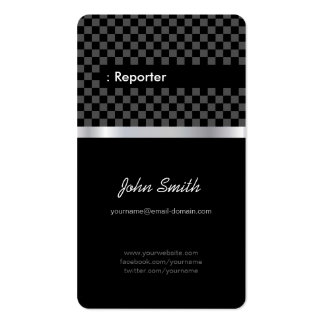 Reportero - a cuadros negro elegante tarjetas de visita