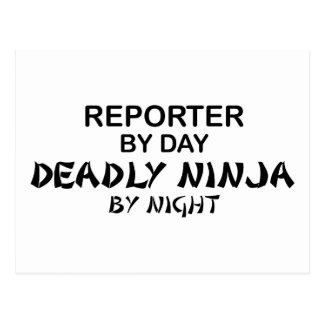 Reportero Ninja mortal por noche Postal