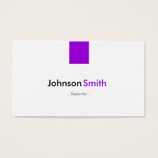 Reportero - violeta púrpura simple tarjeta de negocios