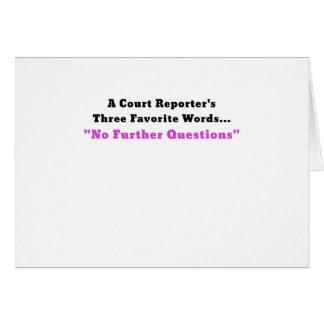 Reporteros de una corte tres palabras preferidas tarjeta