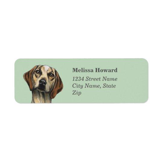 Representación inquisitiva del perro etiqueta de remitente