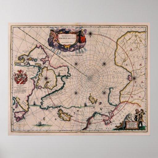 Reproducción del mapa antiguo del poster ártico