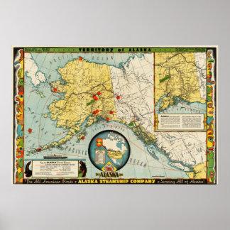 Reproducciones del mapa de la compañía de buque de póster