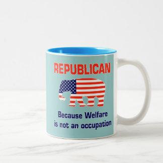 Republicano - el bienestar no es un empleo taza de café