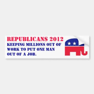 Republicanos 2012 - guardando millones sin trabajo pegatina para coche