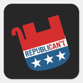 Republican't Calcomanías Cuadradass Personalizadas