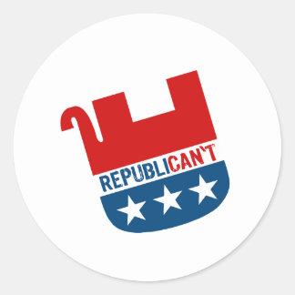 Republican't Pegatina Redonda