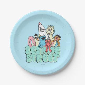 resaca del vintage del Sesame Street de los años Plato De Papel