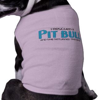 Rescaté un pitbull (el perro femenino) camiseta sin mangas para perro