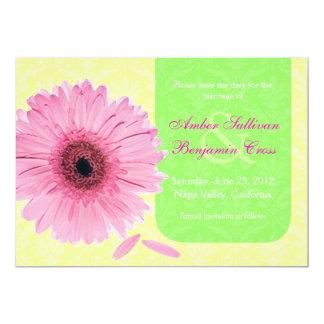 Reserva amarilla verde rosada de la margarita de invitación 12,7 x 17,8 cm
