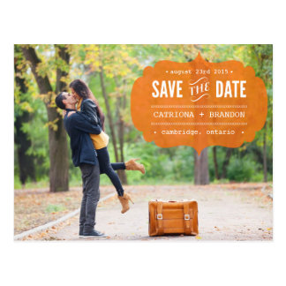 Reserva anaranjada de la foto de la etiqueta del postal