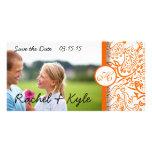 Reserva anaranjada del damasco de los pájaros del tarjeta con foto personalizada