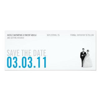 Reserva azul clara del kitsch la fecha invitación 10,1 x 23,5 cm