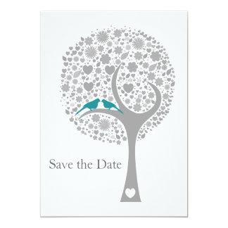 reserva azul de la MOD de los lovebirds del árbol Invitación 12,7 X 17,8 Cm