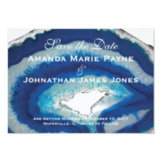Reserva azul del boda de Geode la fecha Invitación 12,7 X 17,8 Cm