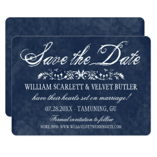 Reserva azul del boda de la acuarela la fecha invitación 12,7 x 17,8 cm
