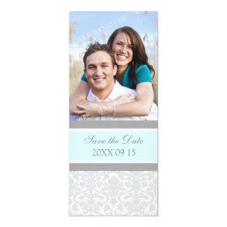 Reserva azul del boda de la foto del damasco la invitación 10,1 x 23,5 cm