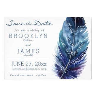 Reserva azul del boda de la pluma las tarjetas de invitación 12,7 x 17,8 cm