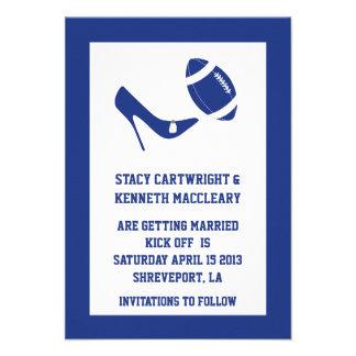 Reserva azul del boda del fútbol la invitación de