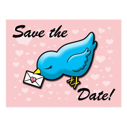 Reserva azul del pájaro la fecha tarjetas postales
