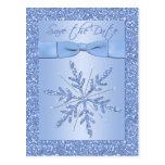 Reserva azul reluciente del copo de nieve la posta tarjeta postal