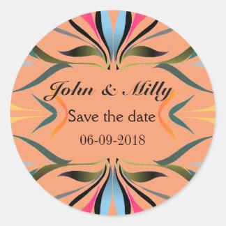 Reserva azulverde moderna el boda de la fecha pegatina redonda