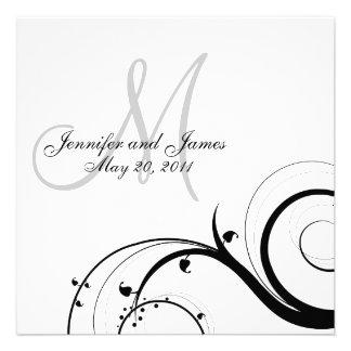 Reserva blanca negra del boda del monograma del re comunicado personal
